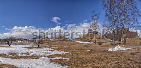 Old Uppsala burial mounds and medieval church Stock photo © sophie_mcaulay
