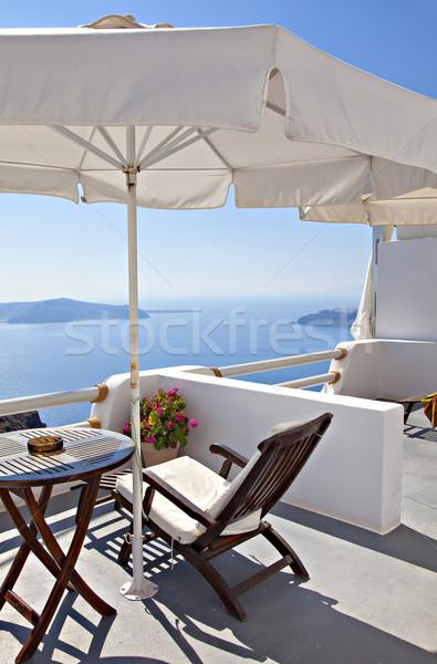 Santorini balcone greco isola mozzafiato view Foto d'archivio © sophie_mcaulay