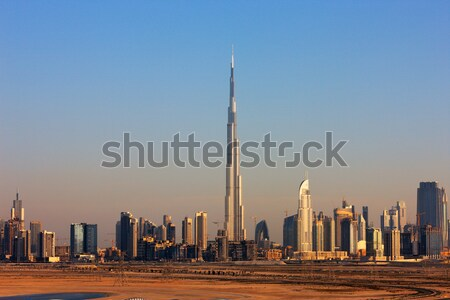 A skyline of Downtown Dubai with the Burj Khalifa at Dawn Stock photo © SophieJames
