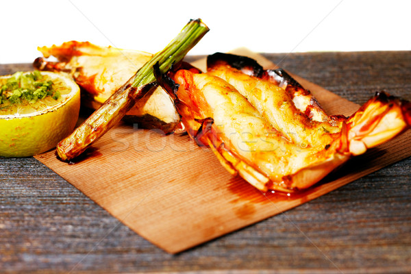Grilled King Prawn Tikka with roasted asparagus Stock photo © SophieJames