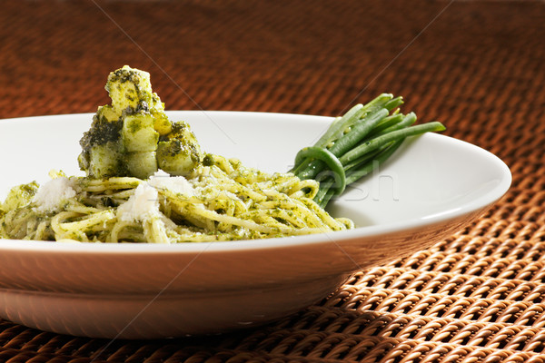 Pesto pasta is an Italian staple food Stock photo © SophieJames