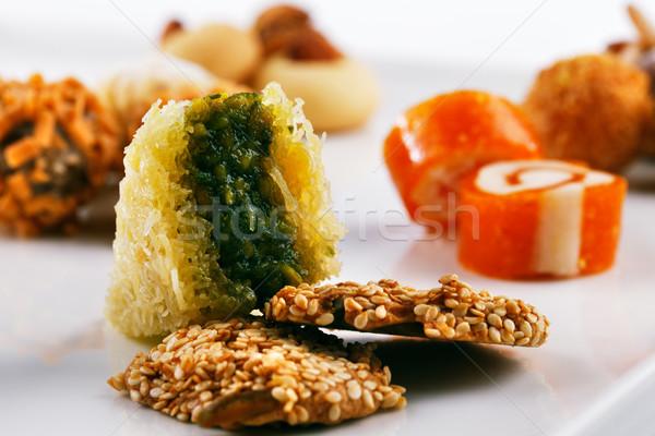 Választék arab édesség fehér csemege közel-keleti Stock fotó © SophieJames