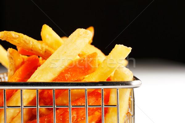 Kosár mély sült sültkrumpli sültkrumpli több Stock fotó © SophieJames