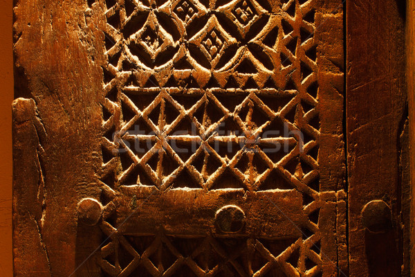 An ancient hand carved door from Arabia Stock photo © SophieJames
