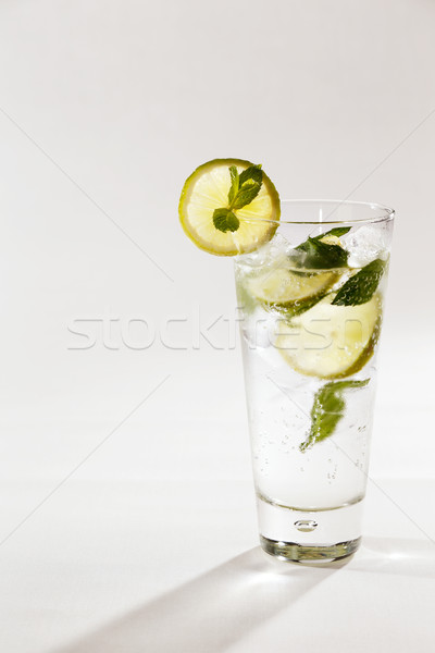 A refreshing drink is a lemon and lime spritser with mint Stock photo © SophieJames
