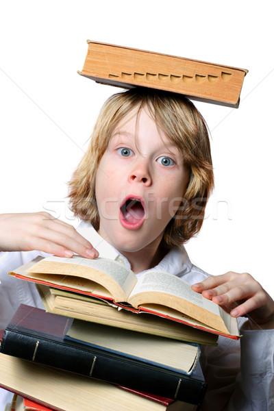 Bilanciamento atto sorpreso ragazzo libro open Foto d'archivio © soupstock
