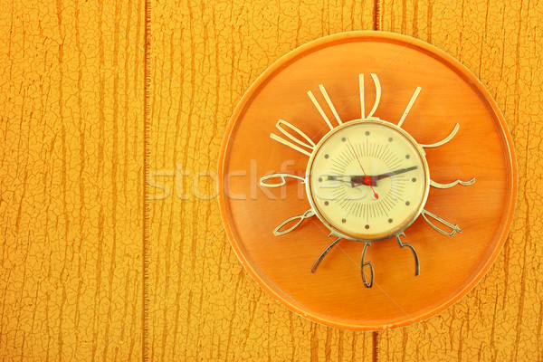 Vintage Clock on paneling Stock photo © soupstock