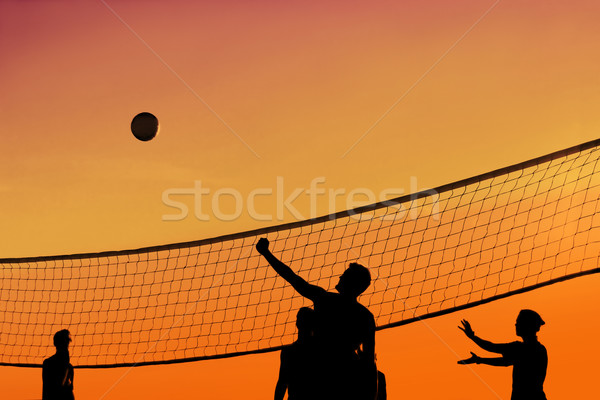 Pôr do sol voleibol vôlei bola jogo Foto stock © soupstock