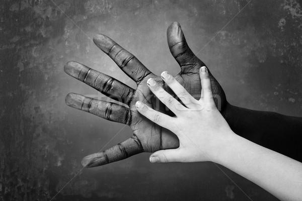 Mani bambino mano adulti bianco nero Palm Foto d'archivio © soupstock
