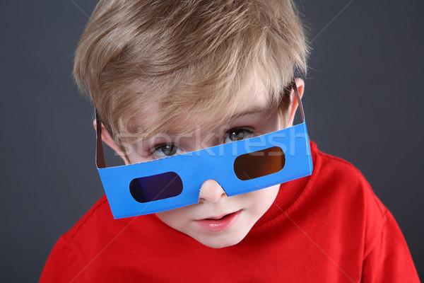 Jongen 3d-bril paar kind Stockfoto © soupstock