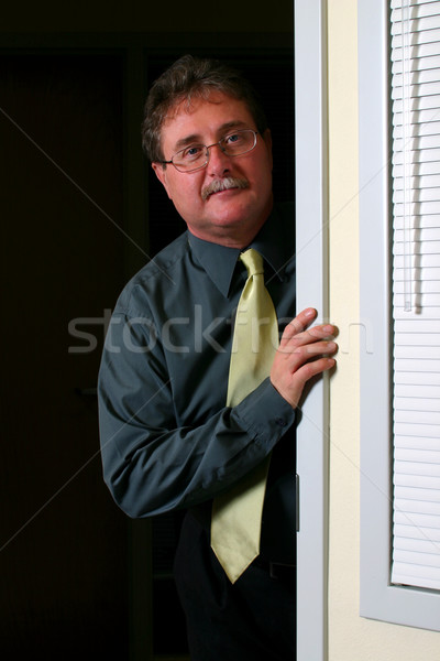 Minuut zakenman rond deuropening kantoor Stockfoto © soupstock