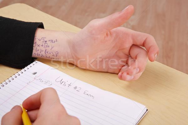 Test persoon bureau antwoorden geschreven Stockfoto © soupstock