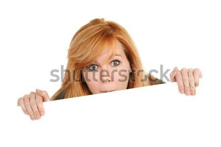 Tienermeisje teken haren teen Rood Stockfoto © soupstock