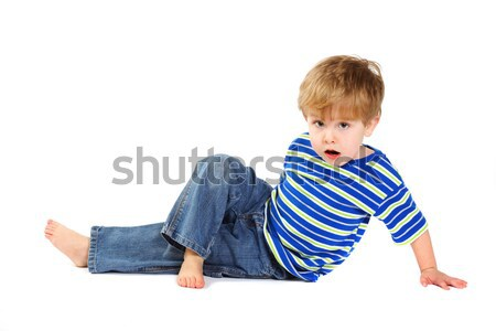 Little boy doing stretches Stock photo © soupstock
