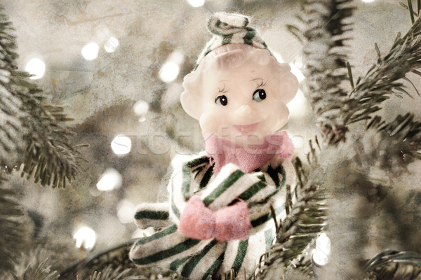 A vintage 'Knee Hugger' elf ornament made of cloth and plastic,  Stock photo © soupstock