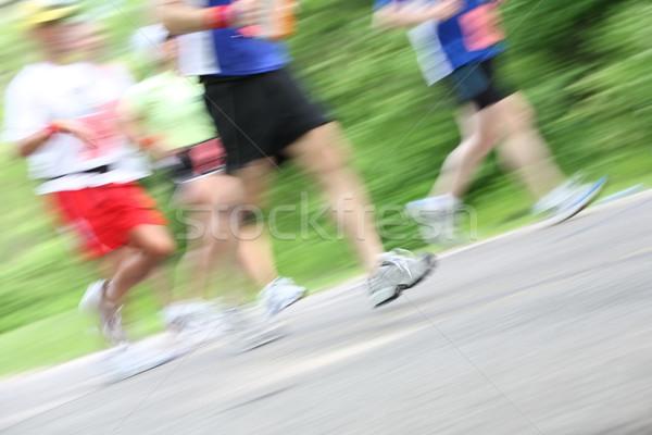 Maraton kamera bemozdulás közelkép futók lábak Stock fotó © soupstock
