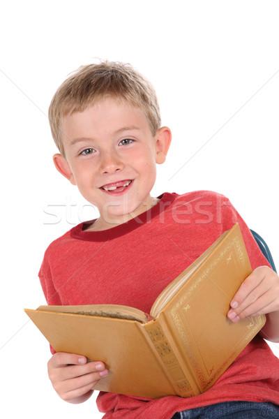 Glimlachend jongen boek kind lezing Stockfoto © soupstock