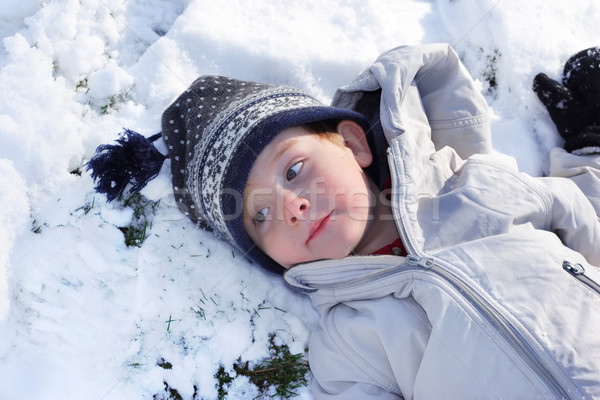 Taking a break from playing on a snowy day  Stock photo © soupstock