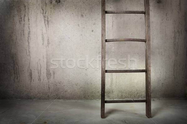 Old wooden ladder on a cement wall Stock photo © soupstock