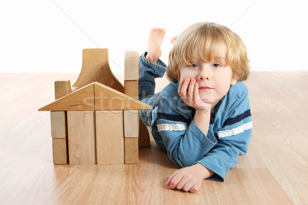 Boy with blocks Stock photo © soupstock