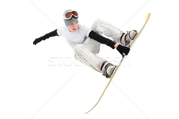 Tini snowbordos ugrás tábla izolált fehér Stock fotó © soupstock