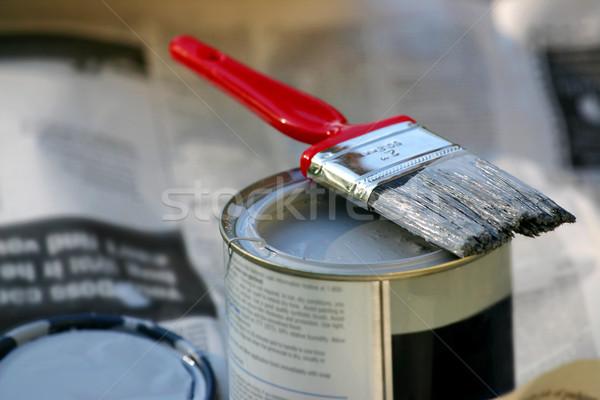 Pinsel Pinsel kann malen Haus Stock foto © soupstock