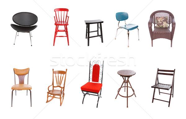 Válogatás székek csoport 10 izolált fehér Stock fotó © soupstock