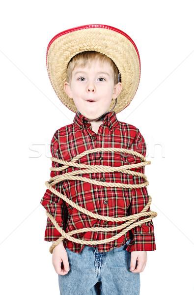 Omhoog cowboy kostuum touw kid Stockfoto © soupstock
