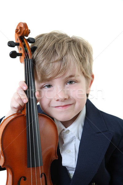 Young student holding a violin Stock photo © soupstock