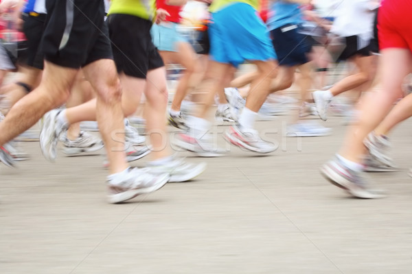 Stock photo: Marathon (in camera motion blur)