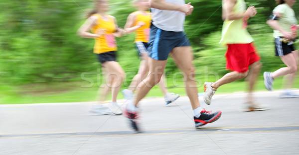 Stock photo: Marathon (in camera motion blur)