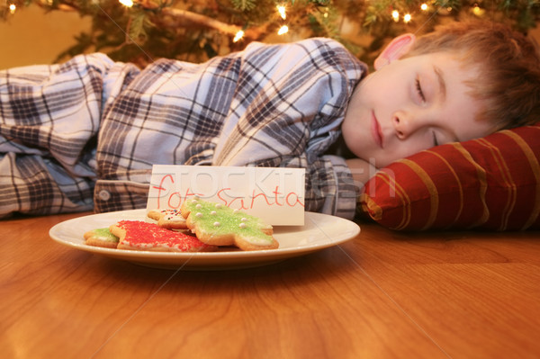 Stock photo: Sleeping boy waiting for Santa
