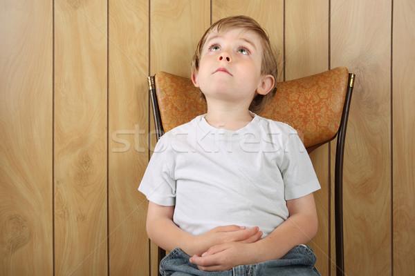 Attesa sedia qualcosa tempo ragazzo Foto d'archivio © soupstock