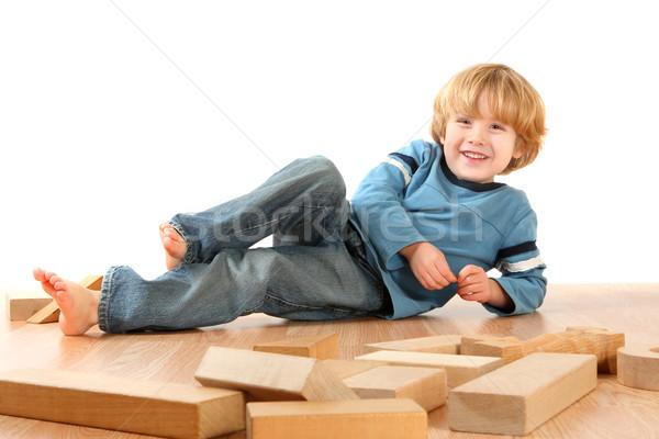 Foto d'archivio: Blocchi · mano · divertimento · ragazzo · giocare