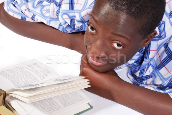 Huiswerk teen leggen boek omhoog Stockfoto © soupstock