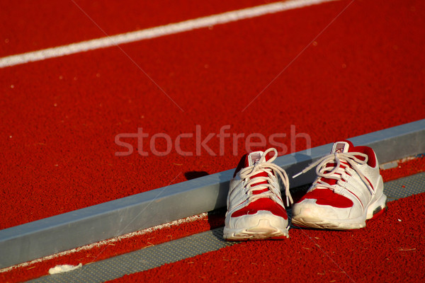 Zapatillas par sentarse tema tenis Foto stock © soupstock