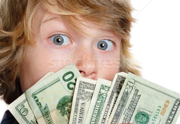 Responsabilité garçon argent papier main Photo stock © soupstock