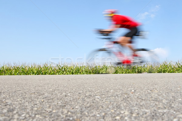 Racing bicycle, motion blur (focus on the cornfield) Stock photo © soupstock