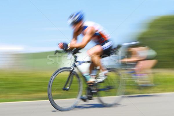 Racing fietsen beweging wazig race Stockfoto © soupstock