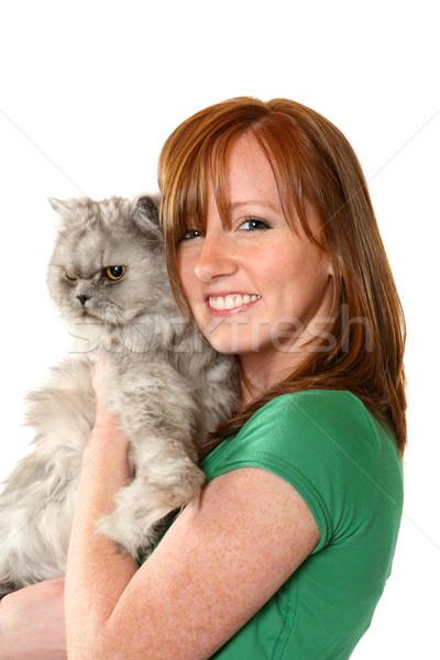 Tiener kat jonge vrouw vrouw meisje Stockfoto © soupstock