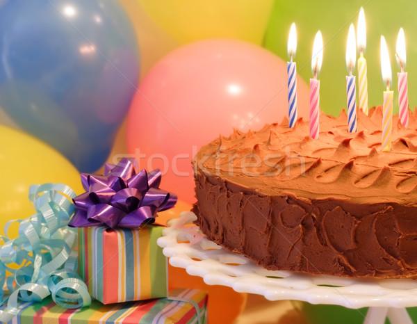 Сток-фото: рождения · празднования · именинный · торт · свечей · шаров · представляет
