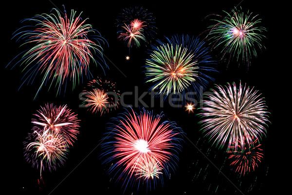 Vuurwerk zwarte hemel licht achtergrond nacht Stockfoto © soupstock