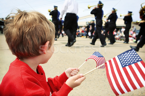 Young boy watching the memorial day parade Stock photo © soupstock