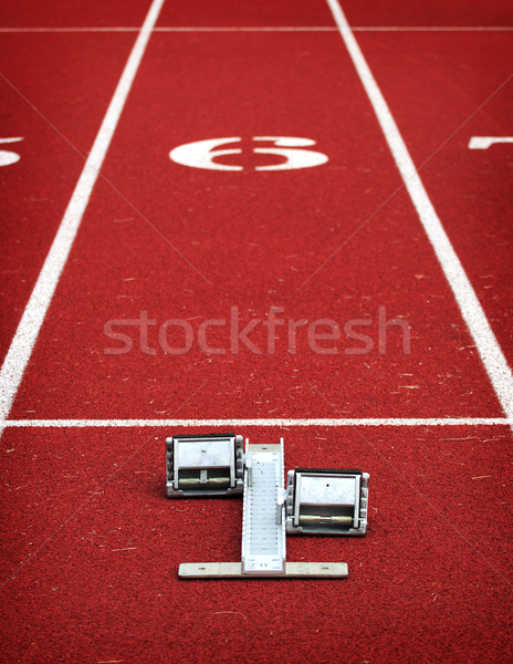 Running blocks at the starting line Stock photo © soupstock