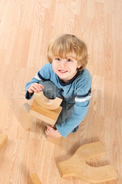 Jongen blokken spelen hand Stockfoto © soupstock