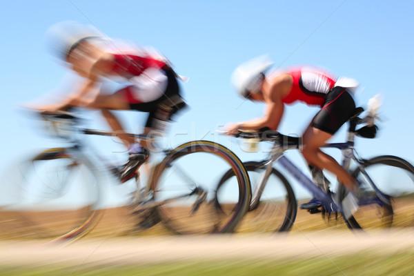 Racing fiets twee platteland race Stockfoto © soupstock