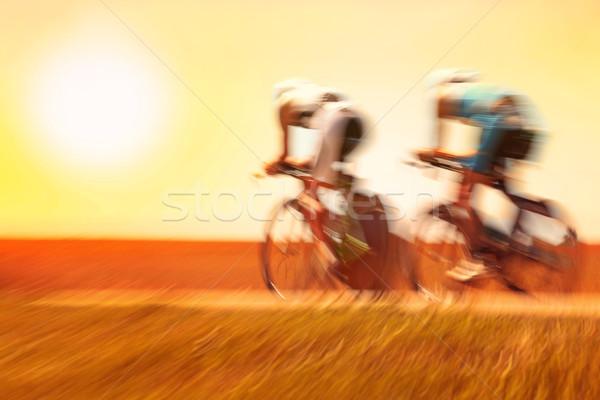 Racing fietsen twee fiets sport Stockfoto © soupstock
