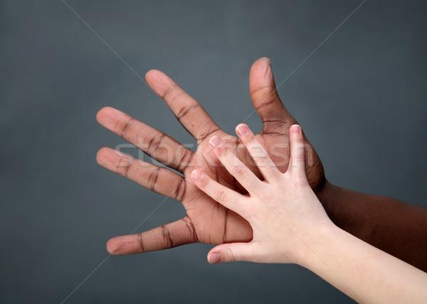 Birlik çocuk el yetişkin eller palmiye Stok fotoğraf © soupstock