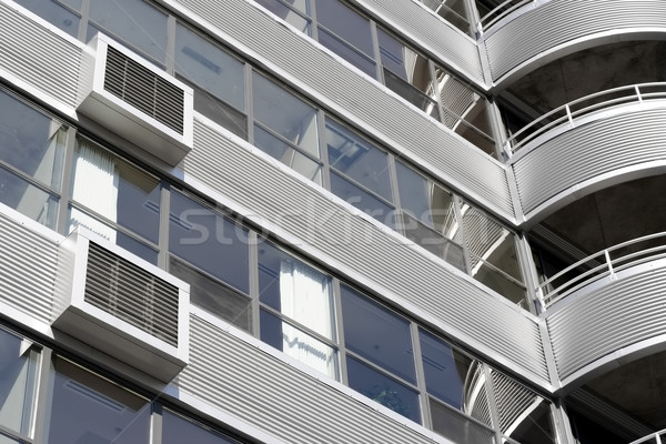 Modern building designed with a metal corregated facade Stock photo © soupstock