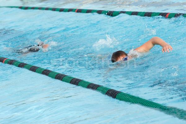 Zdjęcia stock: Pływać · zespołu · praktyka · młodych · ciepły · w · górę